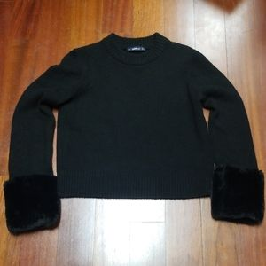 Faux fur cuff sleeve black zara sweater